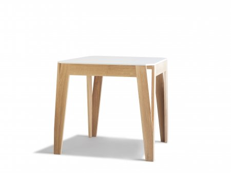Table m lim lo carr e en ch ne et corian bois et design for Pietement de table en bois