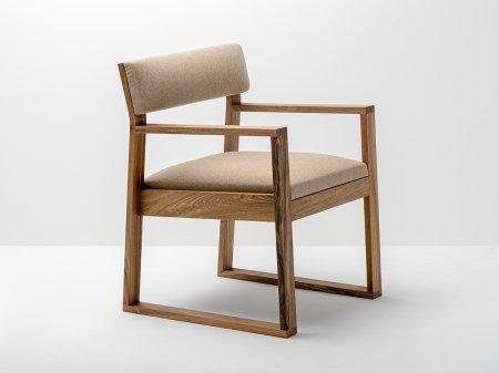 Fauteuil aix en noyer et tissu bois et design made in france delavelle - Fauteuil made in design ...